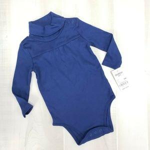 Oshkosh Girls Turtleneck Bodysuit Blue 9M NWT